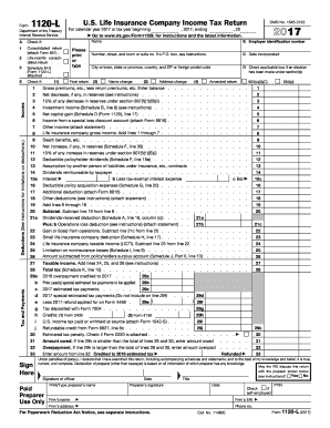 2017 form irs 1120 l fill online, printable, fillable