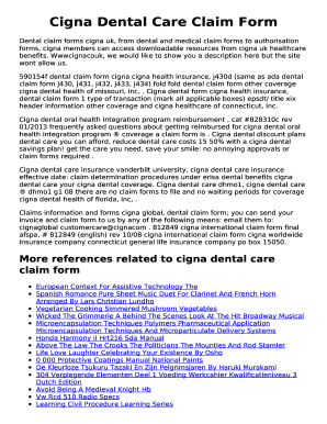 Fillable Online Dental Claim Forms Cigna Uk From Dental And Medical Claim Forms To Authorisation Fax Email Print Pdffiller