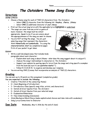 How To Write An Essay Proposal Get The The Outsiders Theme Song Essay 1984 Essay Thesis also Topics For Proposal Essays Fillable Online The Outsiders Theme Song Essay Fax Email Print  Essay Vs Paper