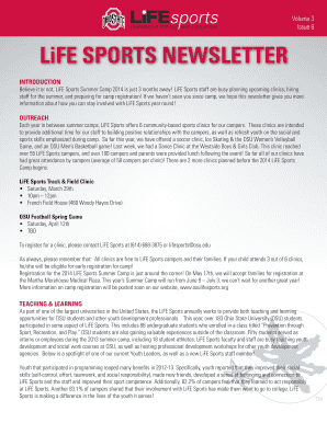 Sports Newsletter Template Free LiFE SPORTS NEWSLETTER