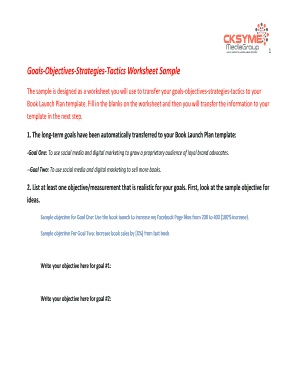Goals Objectives Strategies Tactics Worksheet Sample