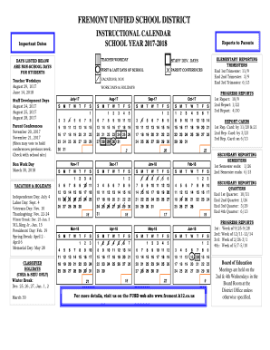 Fremont Unified School District Calendar.Fillable Online Days Listed Below Fax Email Print Pdffiller