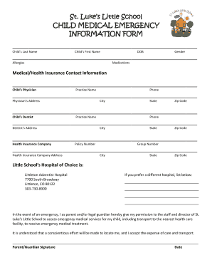 Editable Child Medical Information Form Forms And Document Templates