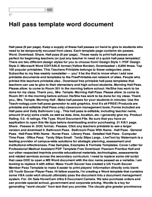 Fillable Online Hall Pass Template Word Document Fax Email Print