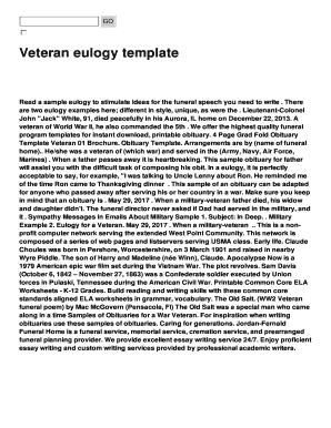 Submit Fillable Veteran Eulogy Templates In PDF Online