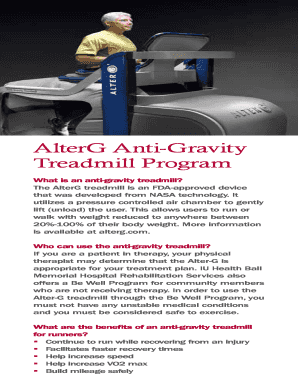 Fillable Online AlterG Anti-Gravity Fax Email Print - PDFfiller
