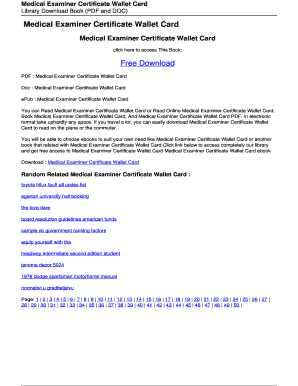 Editable Free Medical Examiner Certificate Wallet Card Forms And