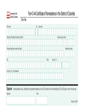 2016-2019 Form DC D-4A Fill Online, Printable, Fillable ...