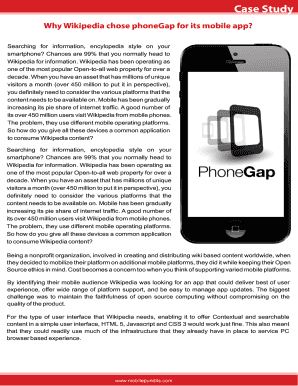 Fillable Online Why Wikipedia chose phoneGap for its mobile
