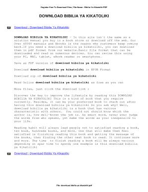 Fillable Online Download Bibilia Ya Kikatoliki Fax Email Print Pdffiller