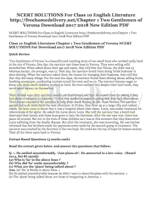 Fillable Online NCERT SOLUTIONS For Class 10 English Literature Fax