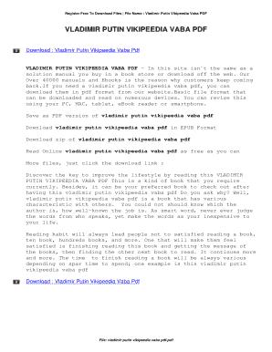 Fillable Online Political Career Of Vladimir Putin Wikipedia Fax Email Print Pdffiller