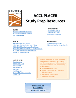 Printable accuplacer practice test Forms and Document Blanks to