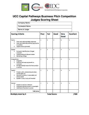 how to judge a pitch competition - Forms & Document