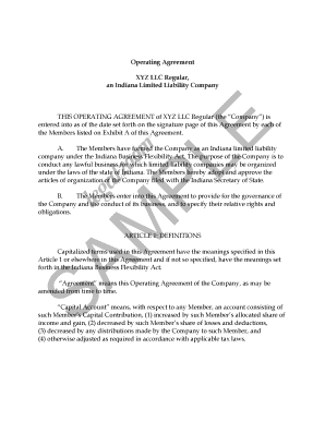 Editable Llc Operating Agreement Indiana Fill Print Download - Llp operating agreement template