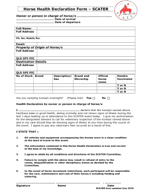 Fillable Online Horse Health Declaration Form SCATER Fax