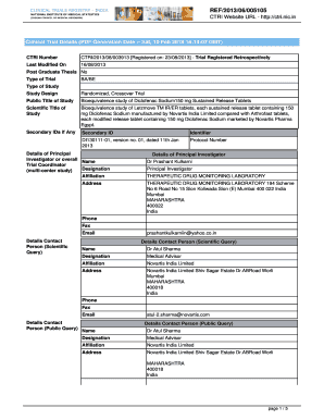 Fillable Online Clinical Trial Details (PDF Generation Date :- Sat