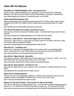 fillable online odes 400 atv manual fax email print pdffiller rh pdffiller com Manual Book Service ManualsOnline