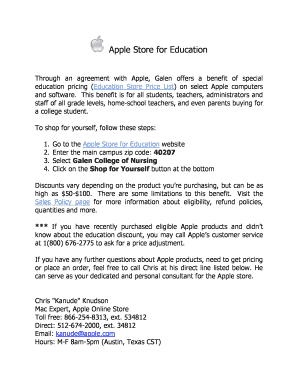 Apple Store For Education Fill Online Printable Fillable Blank - Online store policies template