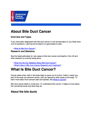 About Bile Duct Cancer Fill Online, Printable, Fillable