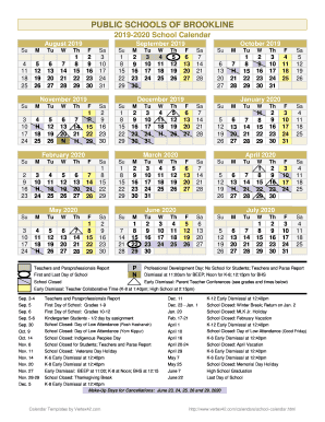 Brookline School Calendar 2020 Fillable Online 2019 2020 School Calendar Fax Email Print   PDFfiller