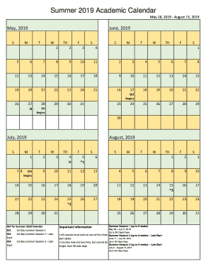 Calendar 2019 Summer Summer 2019 Academic Calendar Fill Online, Printable, Fillable