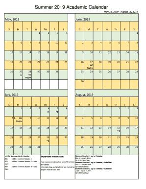 Calendar Summer 2019 Summer 2019 Academic Calendar Fill Online, Printable, Fillable