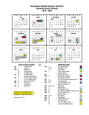 Fillable 2020 Calendar RUSD Calendar 2019   2020 Fill Online, Printable, Fillable, Blank