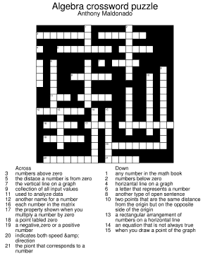 Fillable Online Algebra crossword puzzle Fax Email Print - PDFfiller