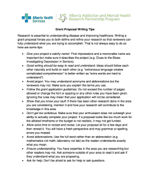 tips for grant proposal writing - Fillable Form & Document