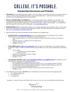Fillable scholarship directory Forms and Document Blanks to