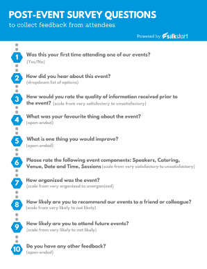 Fillable post event feedback questions Samples to Complete Online