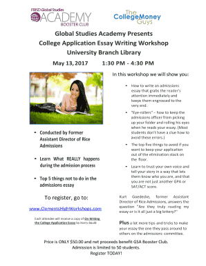 College application essay writing workshop