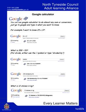 Conversion Calculator Google