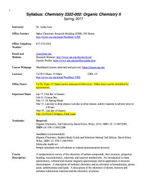 Syllabus: Chemistry 2322-002: Organic Chemistry II Fill Online
