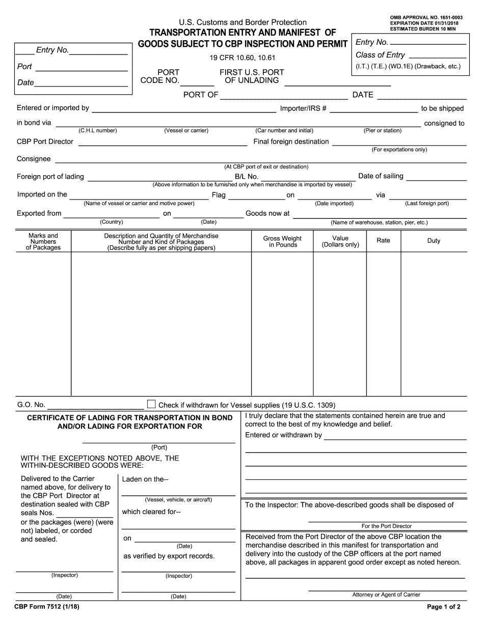 what is cbp form 7512 used for