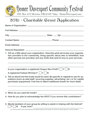 2016 - Charitable Grant Application
