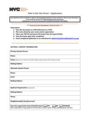 fillable online safe in the city grant application fax email print