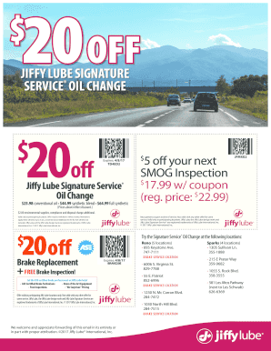 Jiffy Lube Signature Service Oil Change Price Fillable Forms