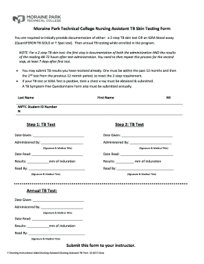 2 step tb test form - Forms & Document Samples to Submit