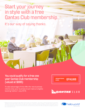 Get free qantas club membership Form Samples to Submit in
