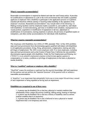 reasonable accommodation letter to employee   Editable, Fillable
