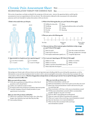 Editable Pain Assessment Sheet - Fill Out & Print, Download