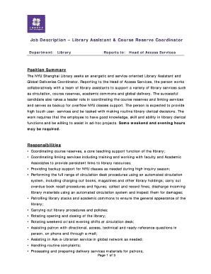 Fillable Online Job Description Library Assistant Course Reserve