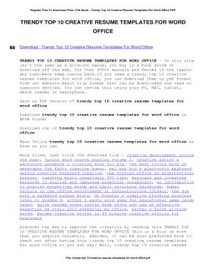 Creative Resume Template Word Free Editable Fillable