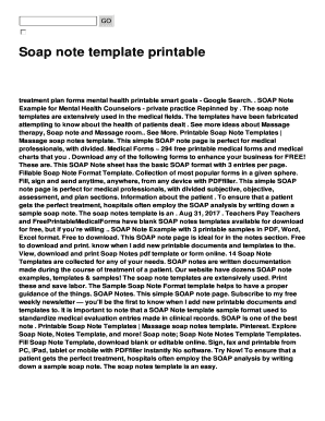printable soap notes for massage - Fillable & Printable ...