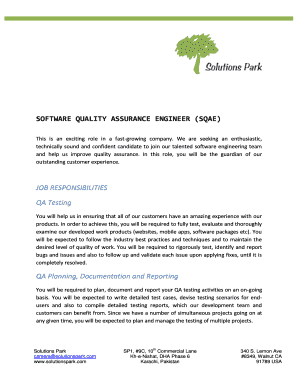 Software Quality Assurance (SQA) Engineer Job Description