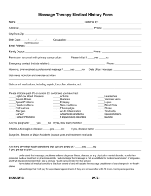 massage therapy medical history form fill online printable