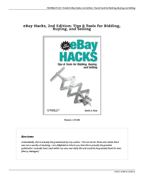 Fillable Online Yshzbqlplc5i Kindle Ebay Hacks 2nd Edition Tips Tools For Bidding Buying And Selling Fax Email Print Pdffiller