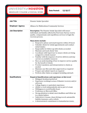 disaster intake specialist